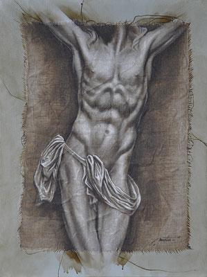 F. Martin© étude de crucifixion Huile sur toile 61X46