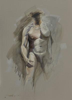 "F. Martin© Homo erectus ""Affirmation"" Huile sur toile 73X100"