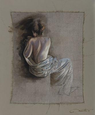 """F.Martin© étude pour """"De l'ombre à la lumière""""  Huile sur toile 65X54"""