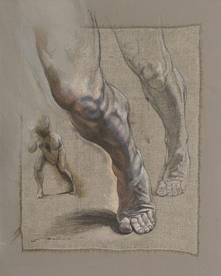 "F. Martin© Homo erectus ""Le fondement"" Huile sur toile 65X81"