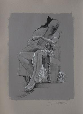 """F. Martin© étude préparatoire pour """"L'automne"""" - dessin pierre noire, rehaut de blanc sur papier teinté"""