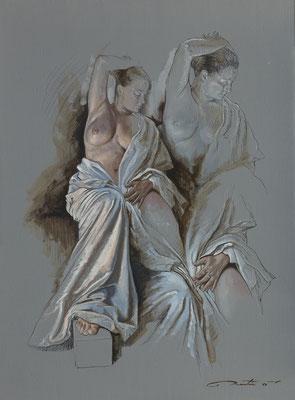 F.Martin© étude de femme et drapé Huile sur toile 60X81