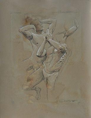 F. Martin© étude de corps en mouvement - dessin pierre noire, rehaut de blanc sur papier teinté