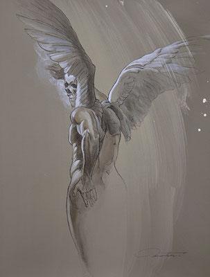 """F.Martin© Les anges déchus N°5 """"Invitation"""" - acrylique et pierre noire sur papier 65X50"""