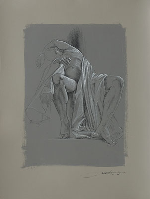 """F. Martin© étude préparatoire pour """"Abandon"""" - dessin pierre noire, rehaut de blanc sur papier teinté"""