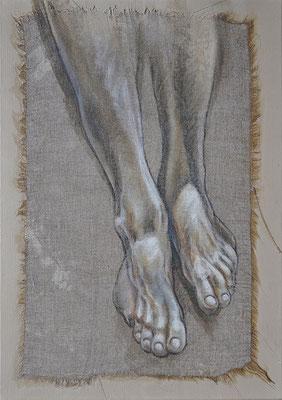 """F.Martin© Partie basse polyptyque """"Ecce Homo"""" (pieds) 46x38"""