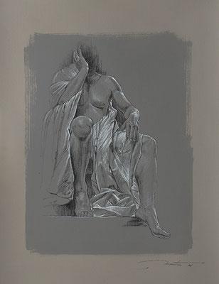 """F. Martin© étude préparatoire pour """"Caligula"""" - dessin pierre noire, rehaut de blanc sur papier teinté"""