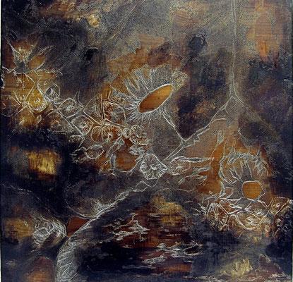 ohne Titel   2013   Lamourlack, Säure auf Zink   26x26 cm