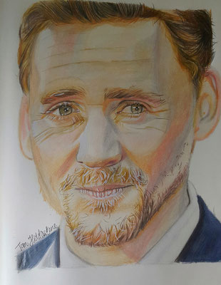 Tom Hiddleston / Buntstiftzeichnung