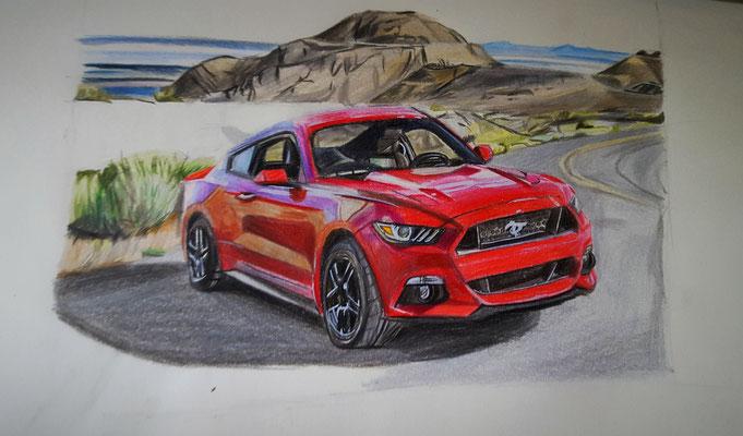 Ford Mustang / Buntstiftzeichnung