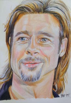 Brad Pitt / Buntstiftzeichnung