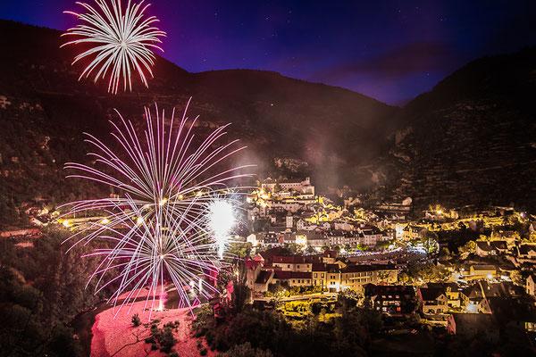 Feu d'artifice 14 juillet Sainte Enimie - Gorges du Tarn