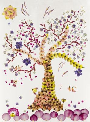 Der Baum ein Traum 60 x 80 Altus-art Blüten gepresst