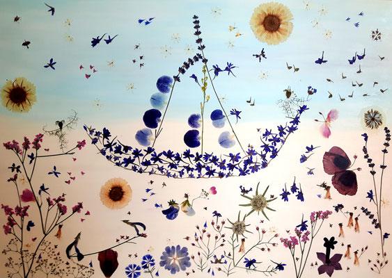 Hochzeitsboot 50 x 70 auf Holz Kunstwerk aus den Blüten Brautstrauss flora-metaphorica