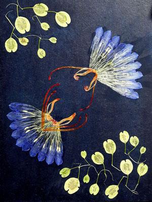 Blaue Fliese mit echten Blüten 15 x 20