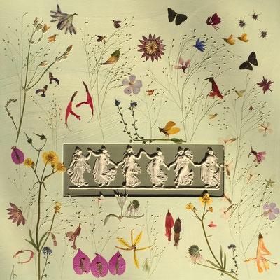Auftragswerk mit Tänzerinnen aus Porzellan - Aus alt mach neu -  50 x 50