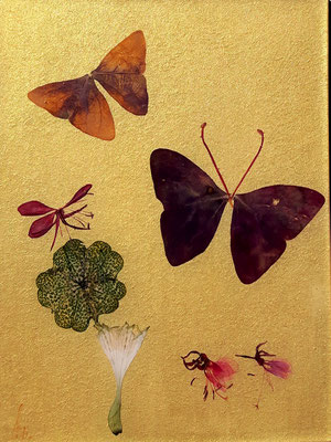 goldene Fliese mit echten Blüten 15 x 20