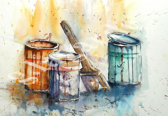 80  Pots de peinture  +c 60x50