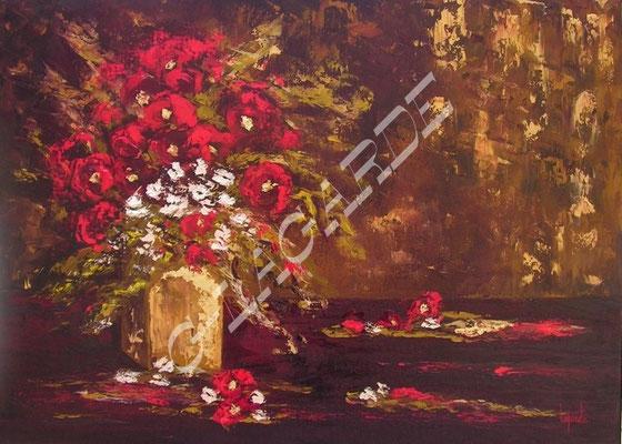 245  Le vase aux feuilles d'or  70x50