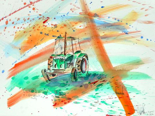 140 Le tracteur de Mr J.Paul 40x29.5  (Loguivy Plougras)