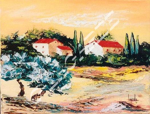 159 Soleil couchant de Provence 35x27