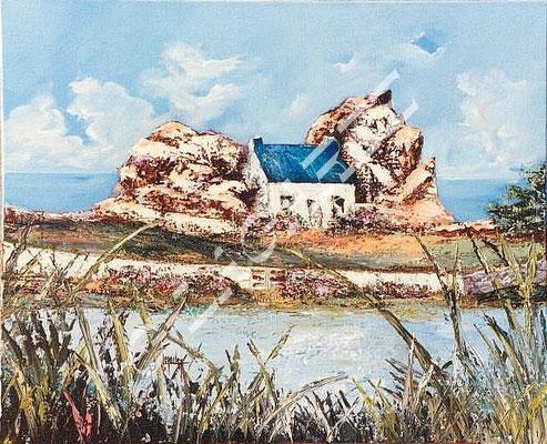 44 La maison entre les rochers  61x50