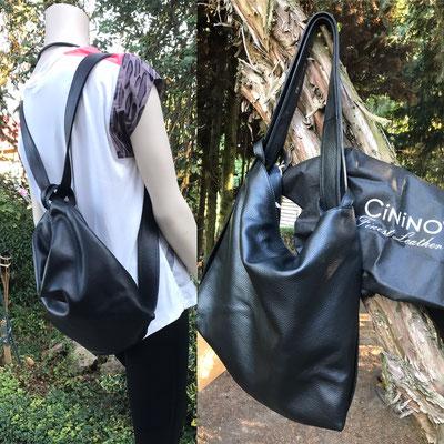 besonders schöne Ledertasche con CININO, groß, geraeumig und kann ganz leicht zum Rucksack umfunktioniert werden
