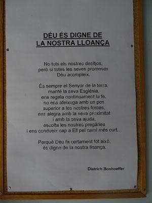 ...und ein Text von Bonhoeffer: Gott erfüllt nicht alle unsere Wünsche, aber sicher alle seine Versprechen