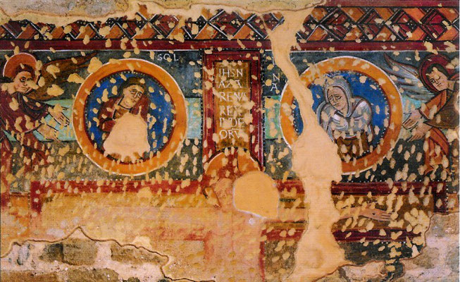 Kreuzigung Jesu an der Südwand des Transsept ( Quelle: cerviaantic.org, Foto: CRBM Carles Aymerich)