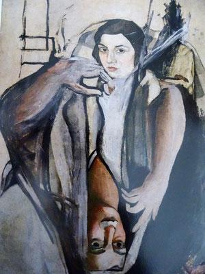 """Porträt seiner Schwester 1923. Im unteren Spiegelbild sind Dalís Gesichtszüge zu erkennen. Die Schwester wendet sich in """"Dalí visto por su hermana"""" (1949) gegen Dalis Darstellung seiner Kindheit und der Familie in """"La vida secreta de Salvador Dali"""" (1942)"""