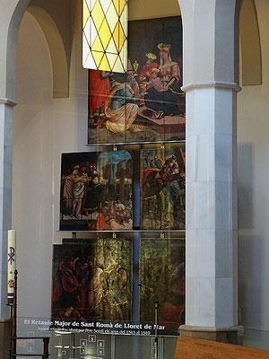 Die geretteten Teile des Altarretabels von Pere Serafí in der Taufkapelle