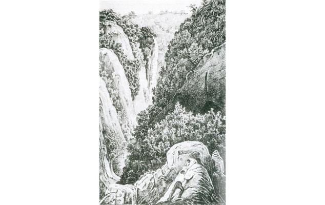 """Noch im 19. Jahrhundert besass das Tal eine pitoreske Gestalt. Sie ging durch industriellen Kalkabbau verloren. (Quelle: Lithographie """"Rabenstein"""" aus Johann Heinrich Bongard """"Wanderung zur Neandershöhle"""", ca. 1835)"""