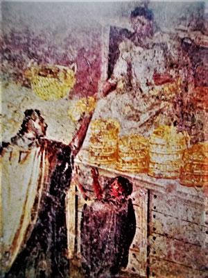 Bäcker oder Beamter verteilt Brot (pompeijanische Wandmalerei)