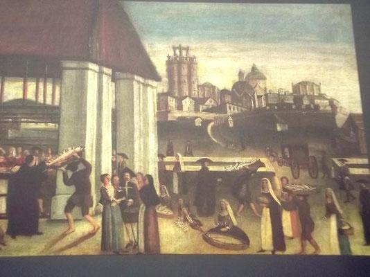 Das Leben konsolidiert sich wieder: Fischmarkt in Ribera  - eine Vorgängerhalle von El Born. Im Hintergrund die Mitte des 1. Jahrhunderts niedergelegte Zitadelle