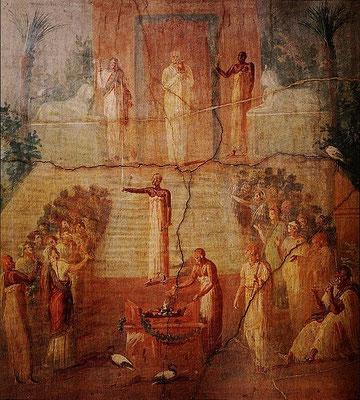 Ritual in einem Isis-Heiligtum (Wasserspende an Göttin bei Tempelöffnung) - Wandbild Herculaneum