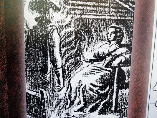 Der in Flammen gehüllte Geist des Grafen Arnau erscheint seiner Witwe auf dem Schloss Mataplana