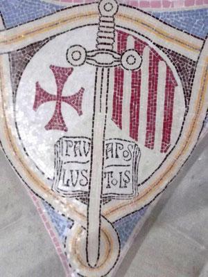 Wappen der vereinigten Hospitale Barcelonas - das Schwert als Zeichen des Apostels Paulus