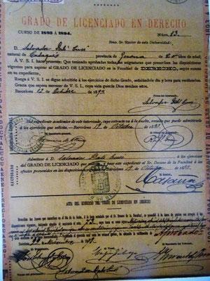 Die Ernennungsurkunde des Vaters Dalí zum Lizenziaten des Rechts von der Universität Barcelona