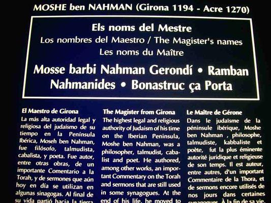 Text zum Leben und Wirken von Nachmanides im Museum