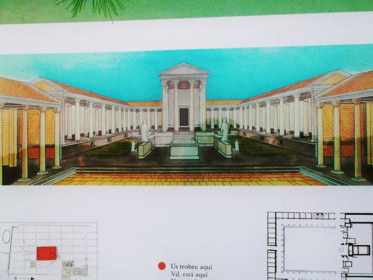 Rekonstrukionsbild des Forums mit dem Kapitol im Hintergrund