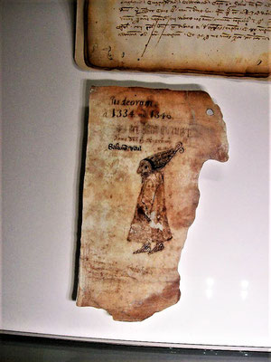 Spottzeichnung auf Salomon Vidal auf einem Pergamentrest (Jüd. Museum)