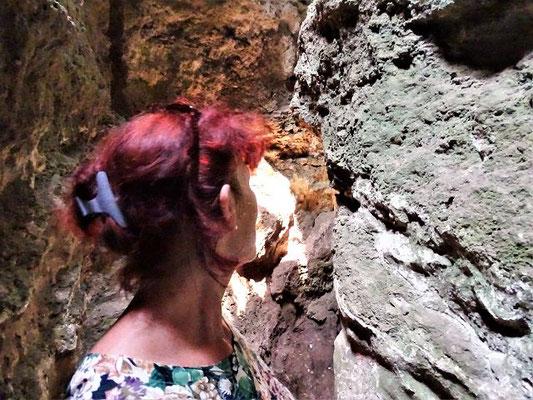 Eine der Feen (?) blickt durch den goldenen Vorhang, der den Zugang zu den unterirdischen Palästen verbirgt