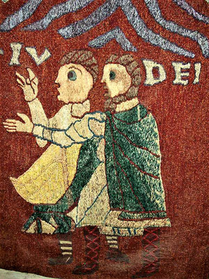 Juden am Randes des Schöpfungsteppichs im Kathedralmuseum Girona
