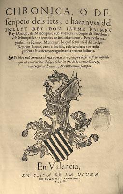"""Titelseite der ersten Druckausgabe der """"Chronik"""" in der Bibliothek des Schlosses von Perelada"""