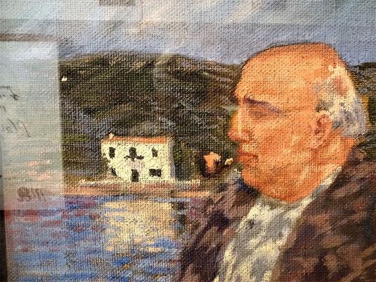 """Der Vater Dalí vor seinem Haus """"el Llaner"""" in Cadaques. Der Vater - Salvador Dalí Cusí (1872-1950), Notar in Figueres (ab 1900), förderte die Bildung und künstlerische Entwicklung seines Sohnes bis zum Bruch mit ihm."""