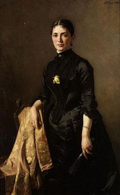 Bei einem Besuch bei Carla betrachtet Hendrik das Bild der Urgroßmutter der Geschwister (Carl Rudolf Sohn, Damenporträt mit Fächer - 1889) (Foto: Bonhams, wikimedia commons, gemeinfrei)