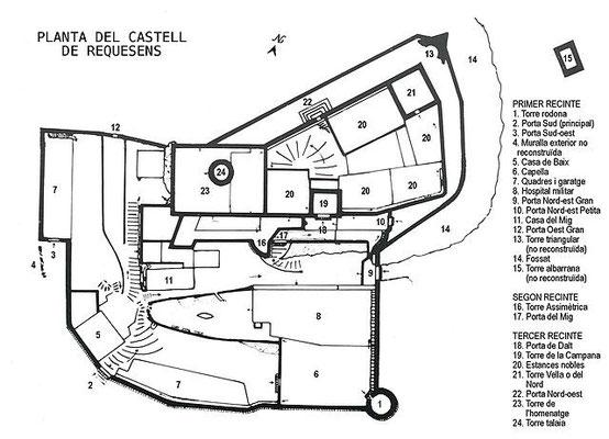 Plan von Requesens (Informationsblatt der Burg)