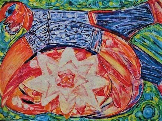 Martin Schmid (Tübingen) : Die große Blume, Öl auf Leinwand (Ausschnitt/Kunstkarte), 1994, ist Vorbild für die Beschreibung des Gralsbildes von Sibylle.