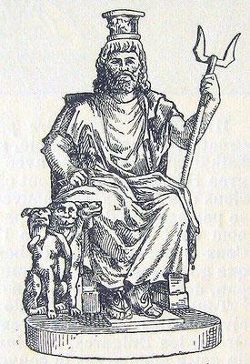 Nachzeichnung einer Serapis-Statue (Darstellung als Allgott) im Colosseum gefunden -wikimedia