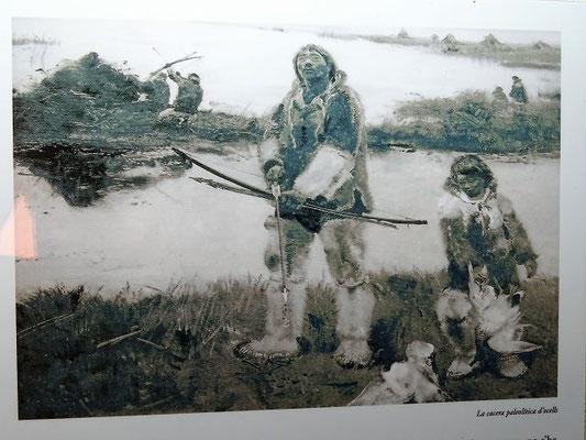 Steinzeitliche Jäger am See